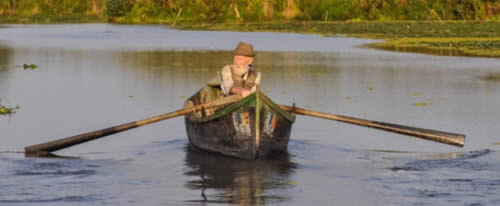 man rowboat